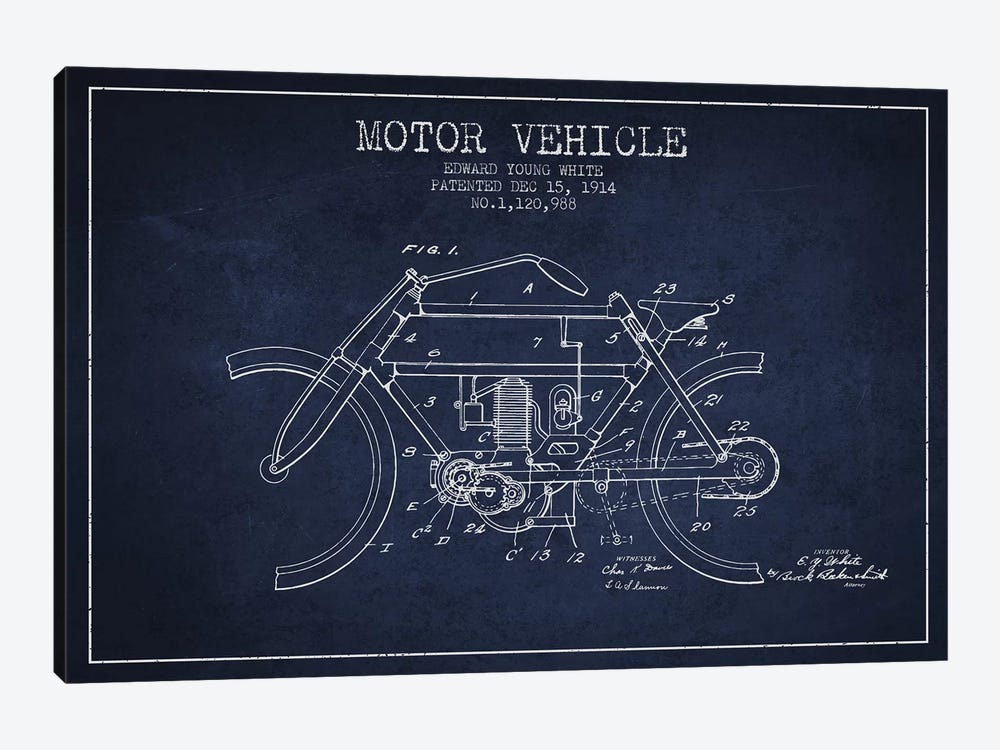 Edward Y. White Motor Vehicle Patent Sketch (Navy Blue) by Aged Pixel 1-piece Canvas Art Print