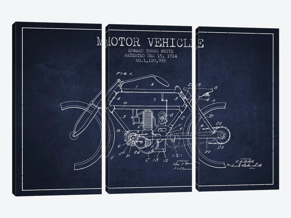 Edward Y. White Motor Vehicle Patent Sketch (Navy Blue) by Aged Pixel 3-piece Canvas Art Print