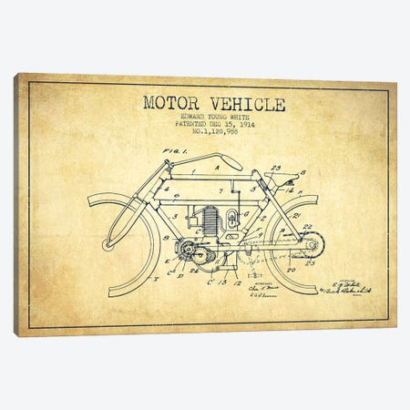 Edward Y. White Motor Vehicle Patent Sketch (Vintage) Canvas Print #ADP2856} by Aged Pixel Canvas Wall Art