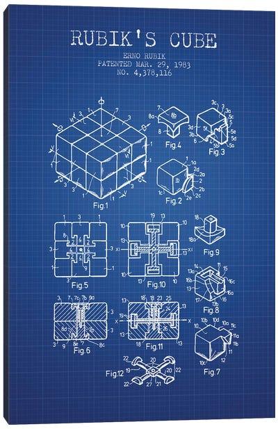 Erno Rubik Rubik's Cube Patent Sketch (Blue Grid) Canvas Art Print