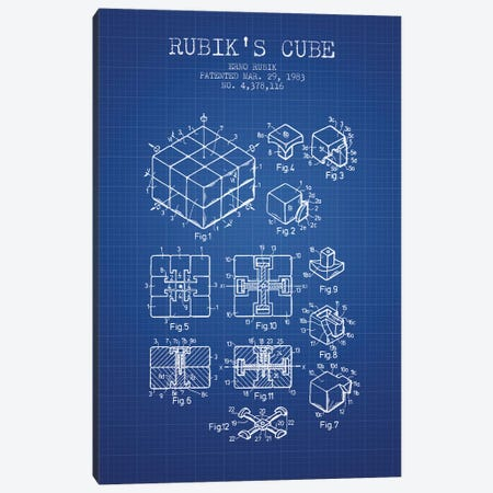 Erno Rubik Rubik's Cube Patent Sketch (Blue Grid) Canvas Print #ADP2858} by Aged Pixel Art Print