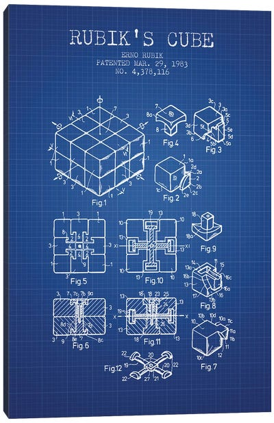 Erno Rubik Rubik's Cube Patent Sketch (Blue Grid) Canvas Art Print