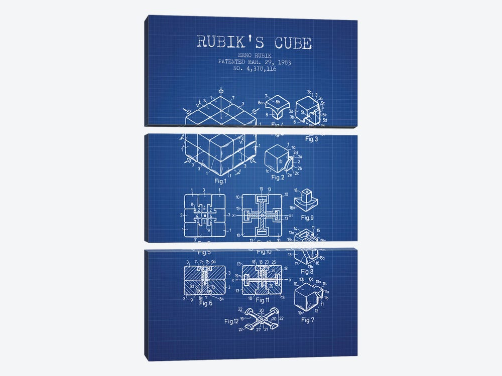 Erno Rubik Rubik's Cube Patent Sketch (Blue Grid) by Aged Pixel 3-piece Canvas Artwork