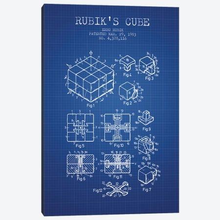 Erno Rubik Rubik's Cube Patent Sketch (Blue Grid) Canvas Print #ADP2858} by Aged Pixel Art Print