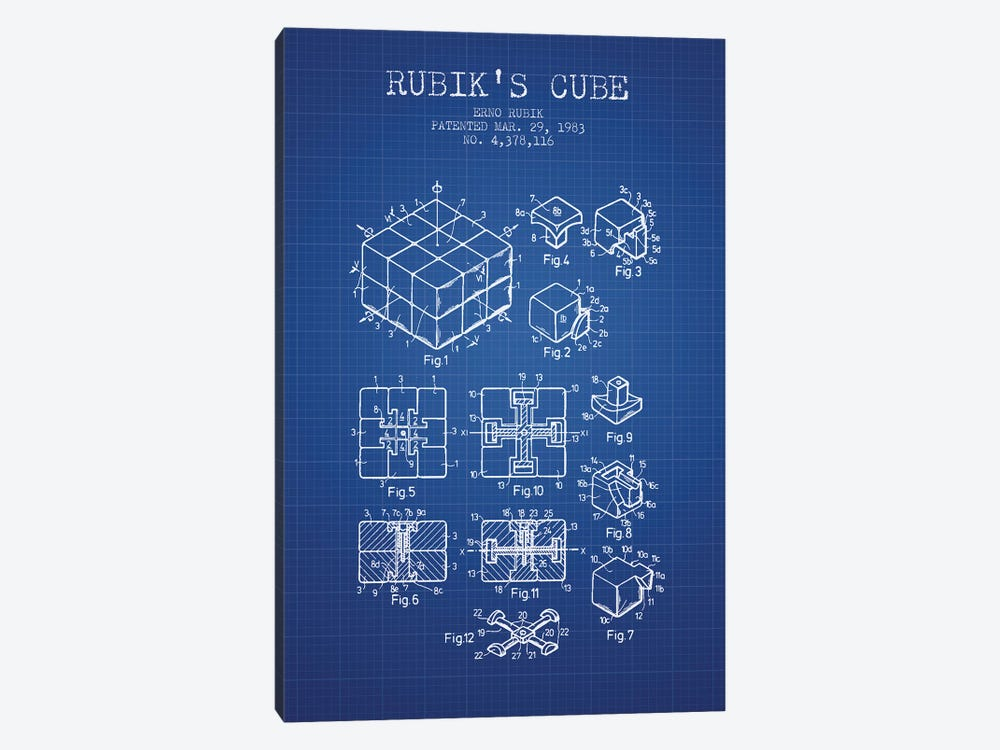 Erno Rubik Rubik's Cube Patent Sketch (Blue Grid) by Aged Pixel 1-piece Canvas Art