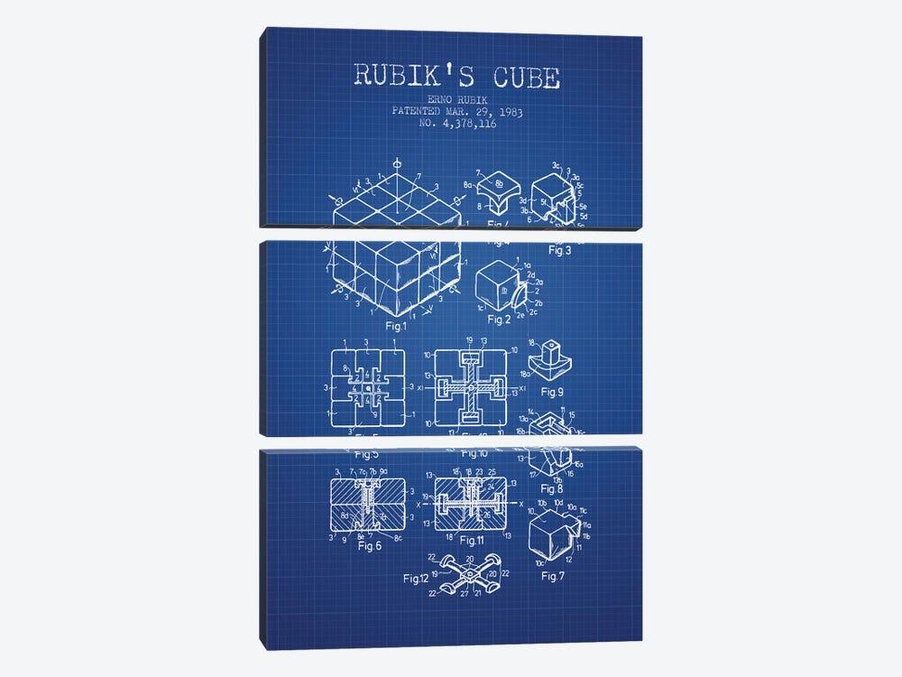 Erno Rubik Rubik's Cube Patent Sketch (Blue Grid) by Aged Pixel 3-piece Canvas Artwork