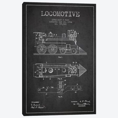 Ethelbert T. Ford Locomotive Pattern Sketch (Charcoal) Canvas Print #ADP2859} by Aged Pixel Canvas Art Print