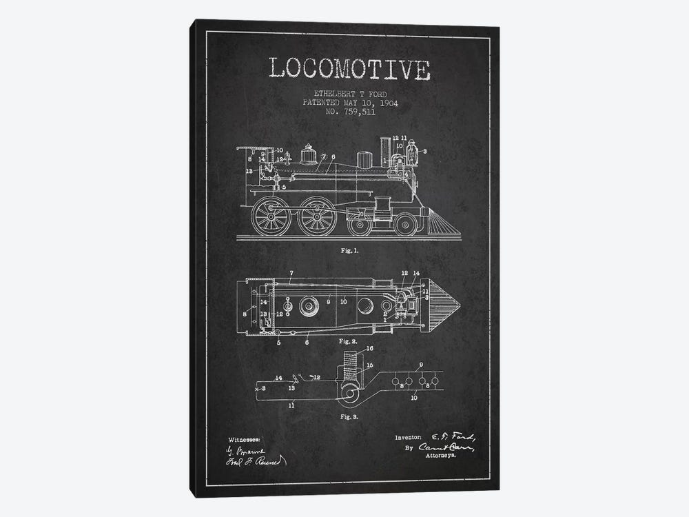 Ethelbert T. Ford Locomotive Pattern Sketch (Charcoal) by Aged Pixel 1-piece Art Print