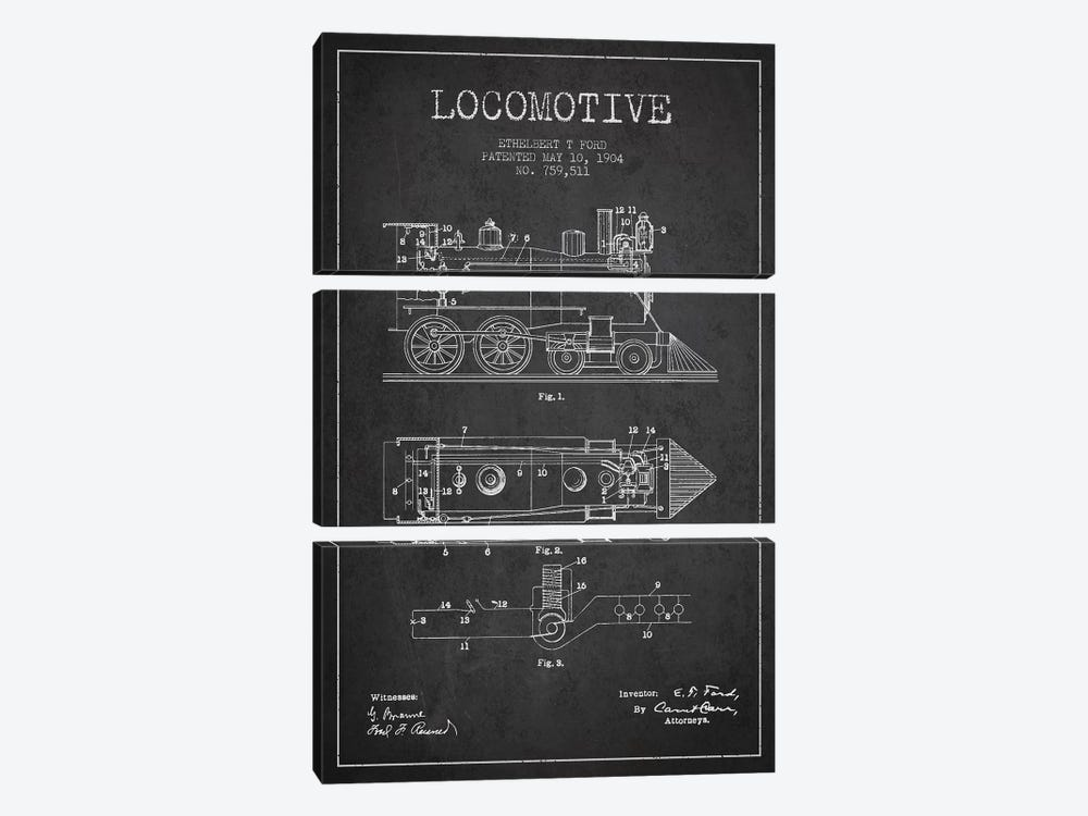 Ethelbert T. Ford Locomotive Pattern Sketch (Charcoal) by Aged Pixel 3-piece Canvas Art Print
