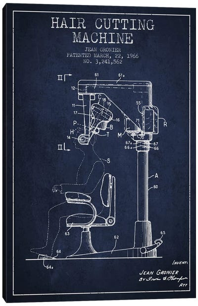 Automatic Heir Cutting Navy Blue Patent Blueprint Canvas Art Print