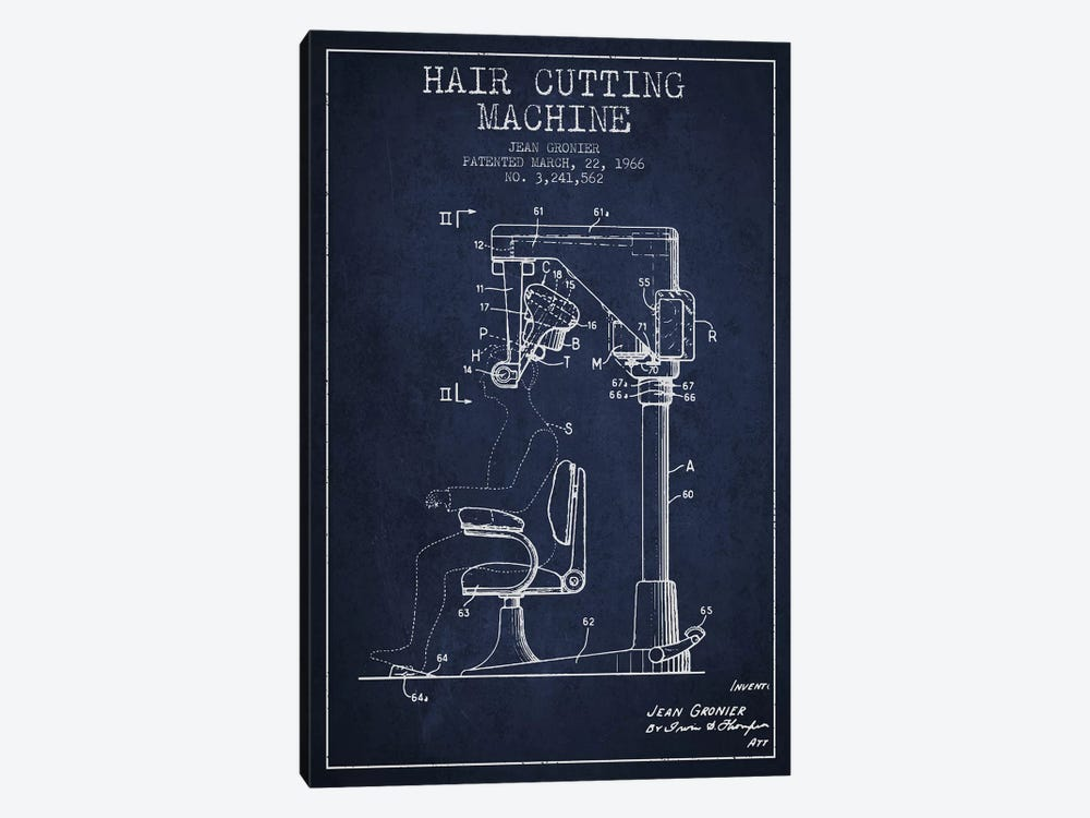 Automatic Heir Cutting Navy Blue Patent Blueprint by Aged Pixel 1-piece Canvas Art Print