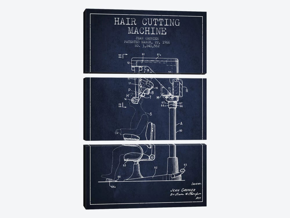 Automatic Heir Cutting Navy Blue Patent Blueprint by Aged Pixel 3-piece Canvas Art Print
