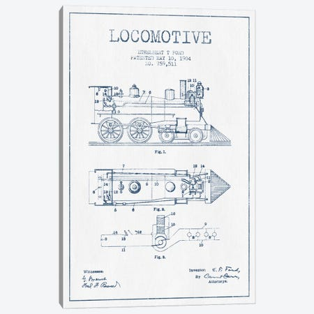 Ethelbert T. Ford Locomotive Pattern Sketch (Ink) Canvas Print #ADP2860} by Aged Pixel Canvas Art
