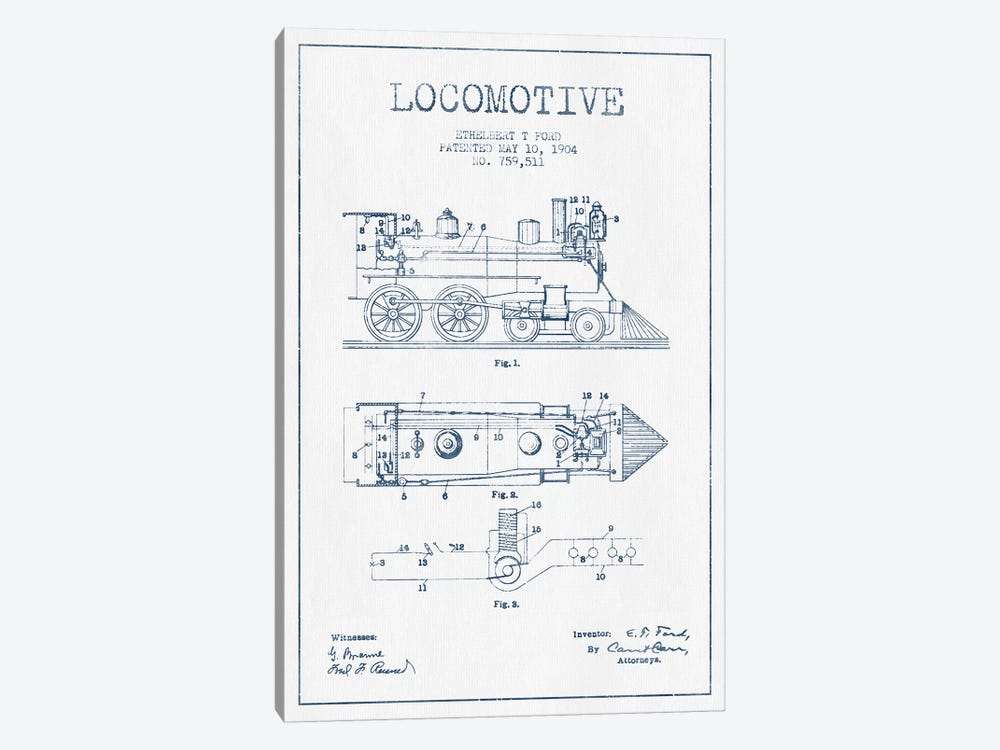 Ethelbert T. Ford Locomotive Pattern Sketch (Ink) by Aged Pixel 1-piece Art Print