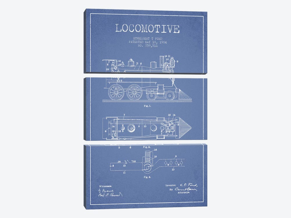 Ethelbert T. Ford Locomotive Pattern Sketch (Light Blue) by Aged Pixel 3-piece Canvas Art
