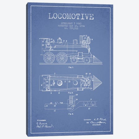 Ethelbert T. Ford Locomotive Pattern Sketch (Light Blue) Canvas Print #ADP2861} by Aged Pixel Canvas Art