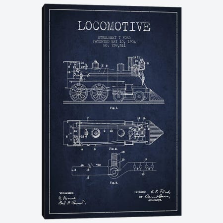 Ethelbert T. Ford Locomotive Pattern Sketch (Navy Blue) Canvas Print #ADP2862} by Aged Pixel Canvas Wall Art