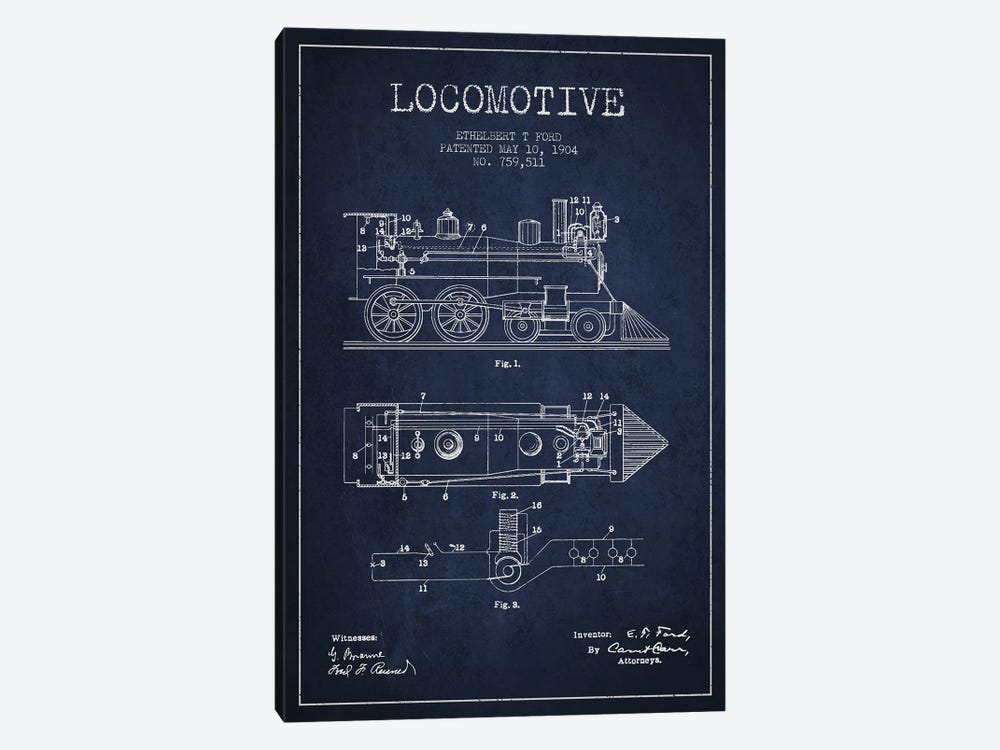Ethelbert T. Ford Locomotive Pattern Sketch (Navy Blue) by Aged Pixel 1-piece Art Print