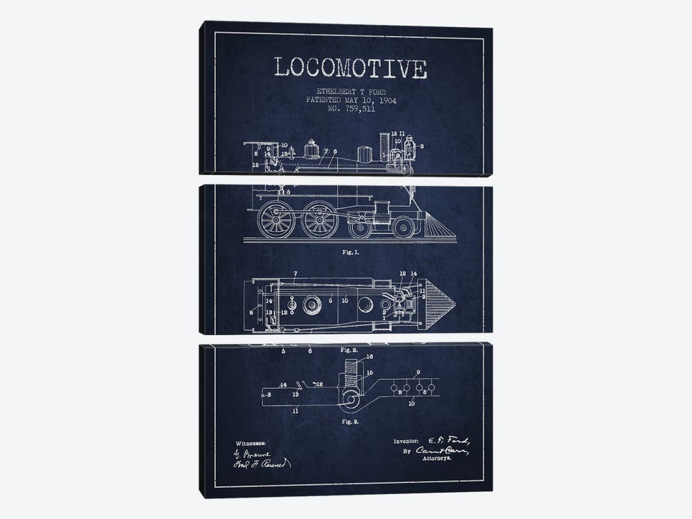 Ethelbert T. Ford Locomotive Pattern Sketch (Navy Blue) by Aged Pixel 3-piece Canvas Print