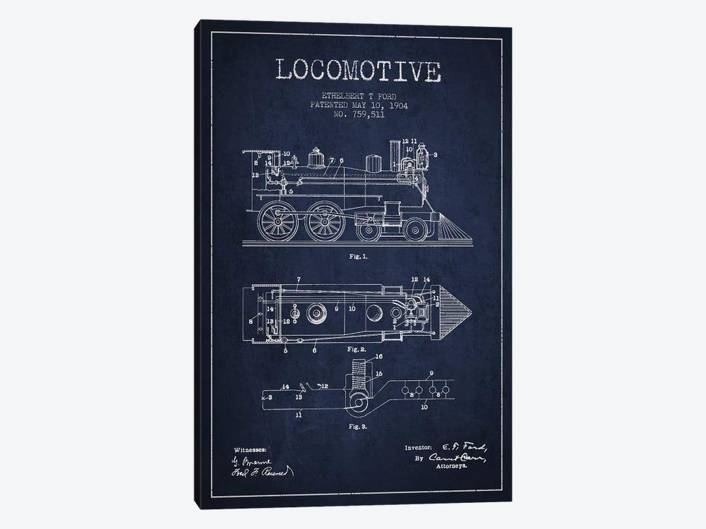 Ethelbert T. Ford Locomotive Pattern Sketch (Navy Blue) by Aged Pixel 1-piece Art Print