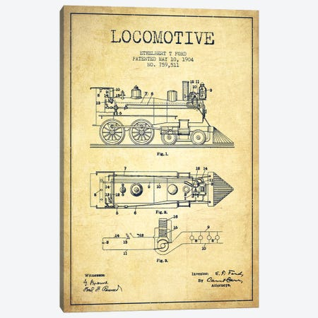 Ethelbert T. Ford Locomotive Pattern Sketch (Vintage) Canvas Print #ADP2863} by Aged Pixel Canvas Art