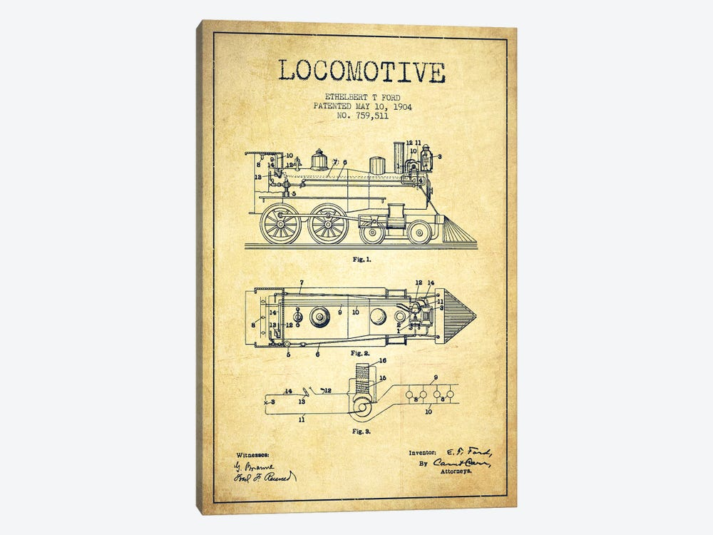 Ethelbert T. Ford Locomotive Pattern Sketch (Vintage) by Aged Pixel 1-piece Canvas Art
