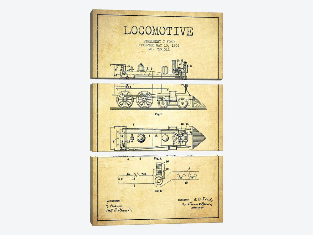 Ethelbert T. Ford Locomotive Pattern Sketch (Vintage) by Aged Pixel 3-piece Canvas Artwork