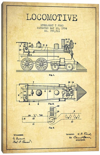 Ethelbert T. Ford Locomotive Pattern Sketch (Vintage) Canvas Art Print