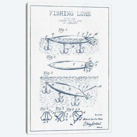 F.A. Cass Fishing Lure Patent Sketch (Ink) Canvas Print #ADP2864} by Aged Pixel Canvas Art Print