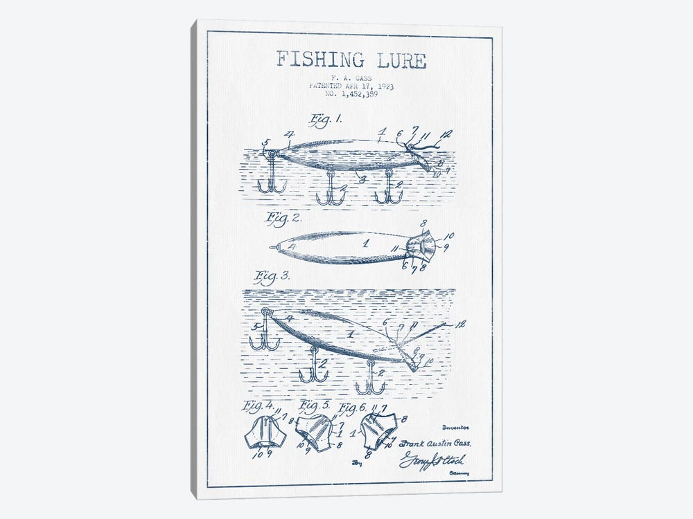 F.A. Cass Fishing Lure Patent Sketch (Ink) by Aged Pixel 1-piece Canvas Art Print