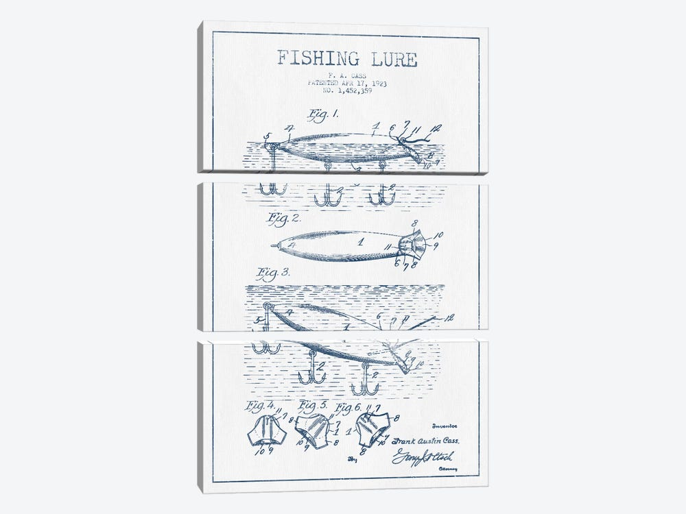 F.A. Cass Fishing Lure Patent Sketch (Ink) by Aged Pixel 3-piece Art Print