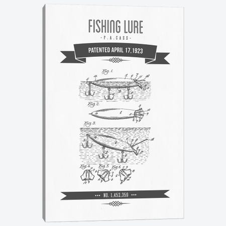F.A. Cass Fishing Lure Patent Sketch Retro (Charcoal) Canvas Print #ADP2865} by Aged Pixel Art Print