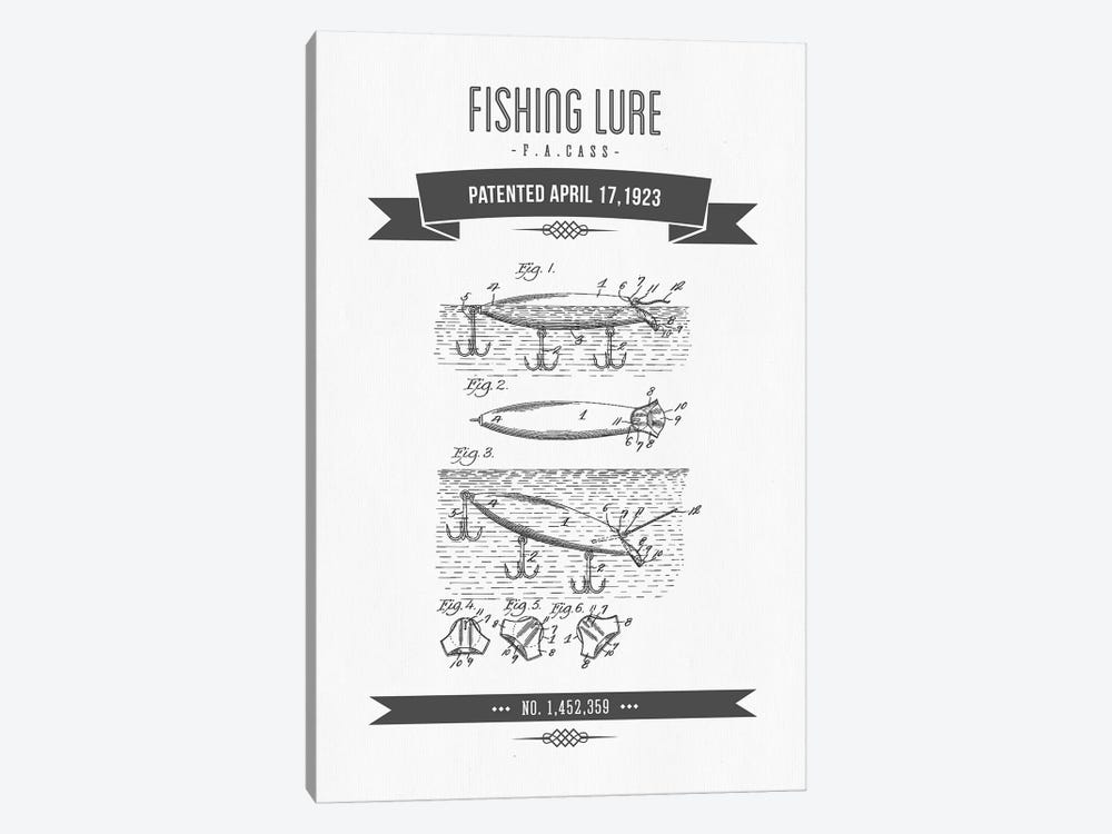 F.A. Cass Fishing Lure Patent Sketch Retro (Charcoal) by Aged Pixel 1-piece Canvas Artwork