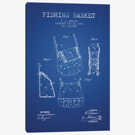 F.L. Sheldon Fishing Basket Patent Sketch (Blue Grid) Canvas Print #ADP2866} by Aged Pixel Art Print