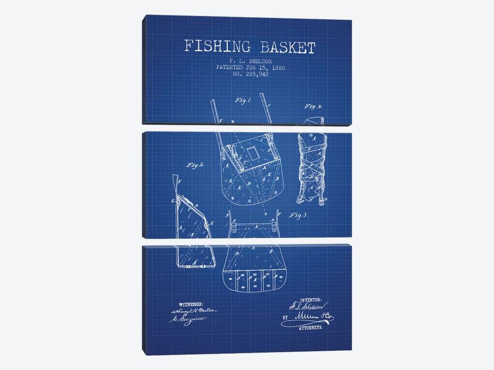 F.L. Sheldon Fishing Basket Patent Sketch (Blue Grid) by Aged Pixel 3-piece Canvas Art Print