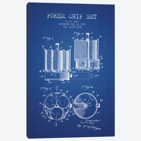 F.R. Belt Poker Chip Set Patent Sketch (Blue Grid) Canvas Print #ADP2868} by Aged Pixel Canvas Art