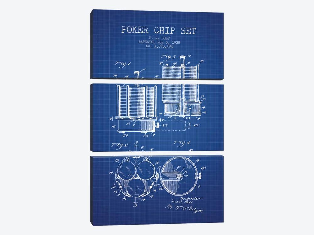 F.R. Belt Poker Chip Set Patent Sketch (Blue Grid) by Aged Pixel 3-piece Canvas Print