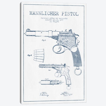 F.R. Von Mannlicher Mannlicher Pistol Patent Sketch (Ink) Canvas Print #ADP2869} by Aged Pixel Canvas Art