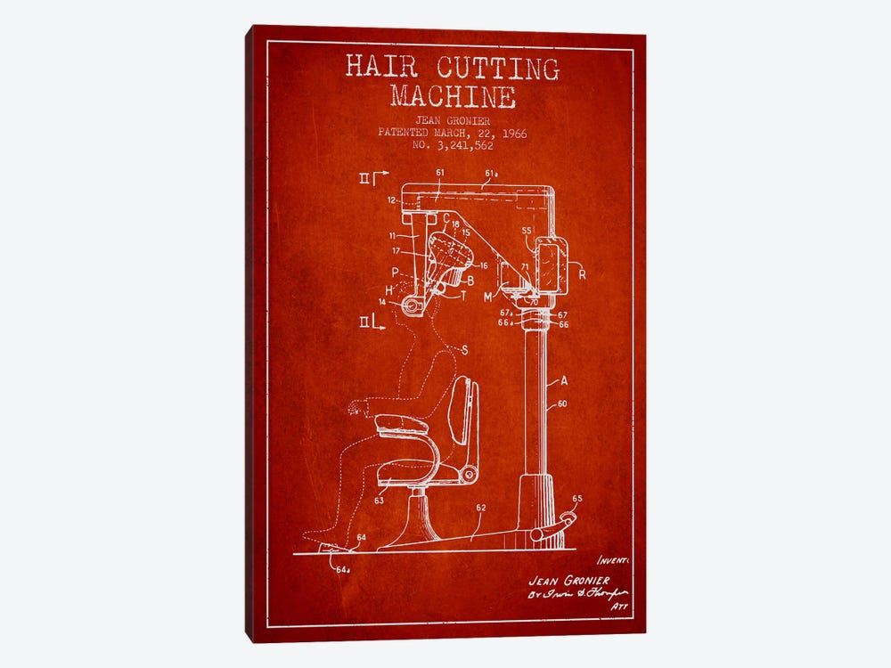 Automatic Heir Cutting Red Patent Blueprint by Aged Pixel 1-piece Canvas Art