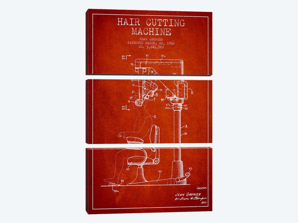 Automatic Heir Cutting Red Patent Blueprint by Aged Pixel 3-piece Canvas Art