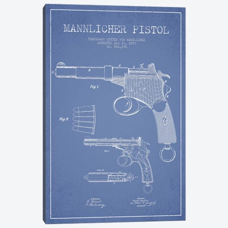 F.R. Von Mannlicher Mannlicher Pistol Patent Sketch (Light Blue) Canvas Print #ADP2870} by Aged Pixel Art Print