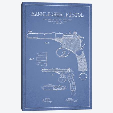 F.R. Von Mannlicher Mannlicher Pistol Patent Sketch (Light Blue) Canvas Print #ADP2870} by Aged Pixel Art Print
