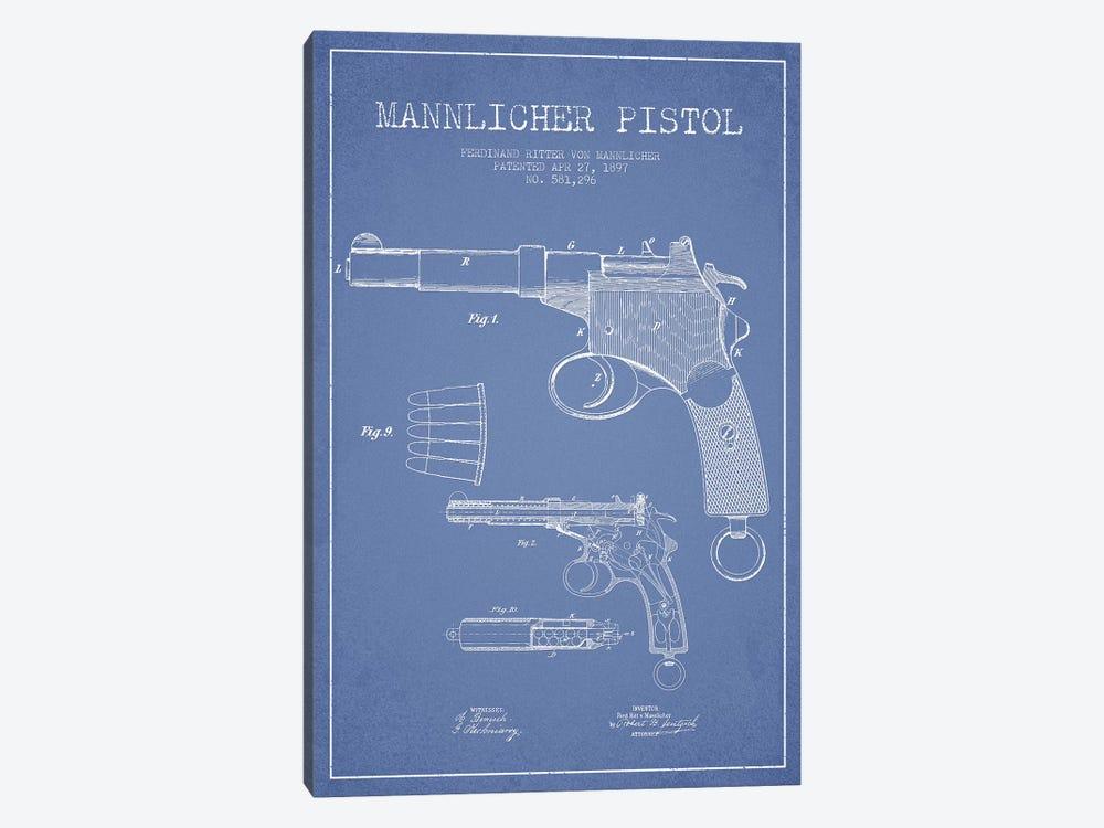 F.R. Von Mannlicher Mannlicher Pistol Patent Sketch (Light Blue) by Aged Pixel 1-piece Canvas Artwork