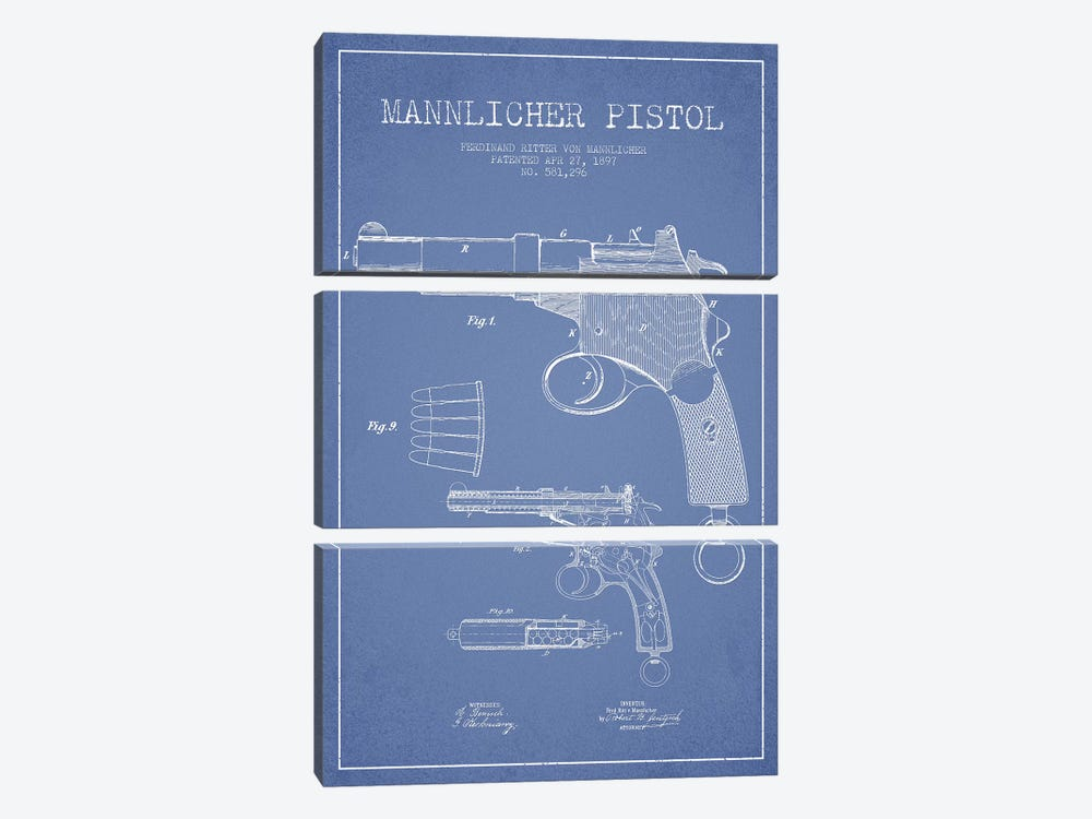 F.R. Von Mannlicher Mannlicher Pistol Patent Sketch (Light Blue) by Aged Pixel 3-piece Canvas Art