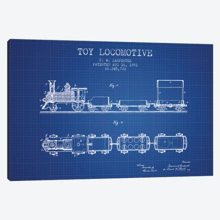 F.W. Carpenter Toy Locomotive Patent Sketch (Blue Grid) Canvas Print #ADP2871} by Aged Pixel Art Print