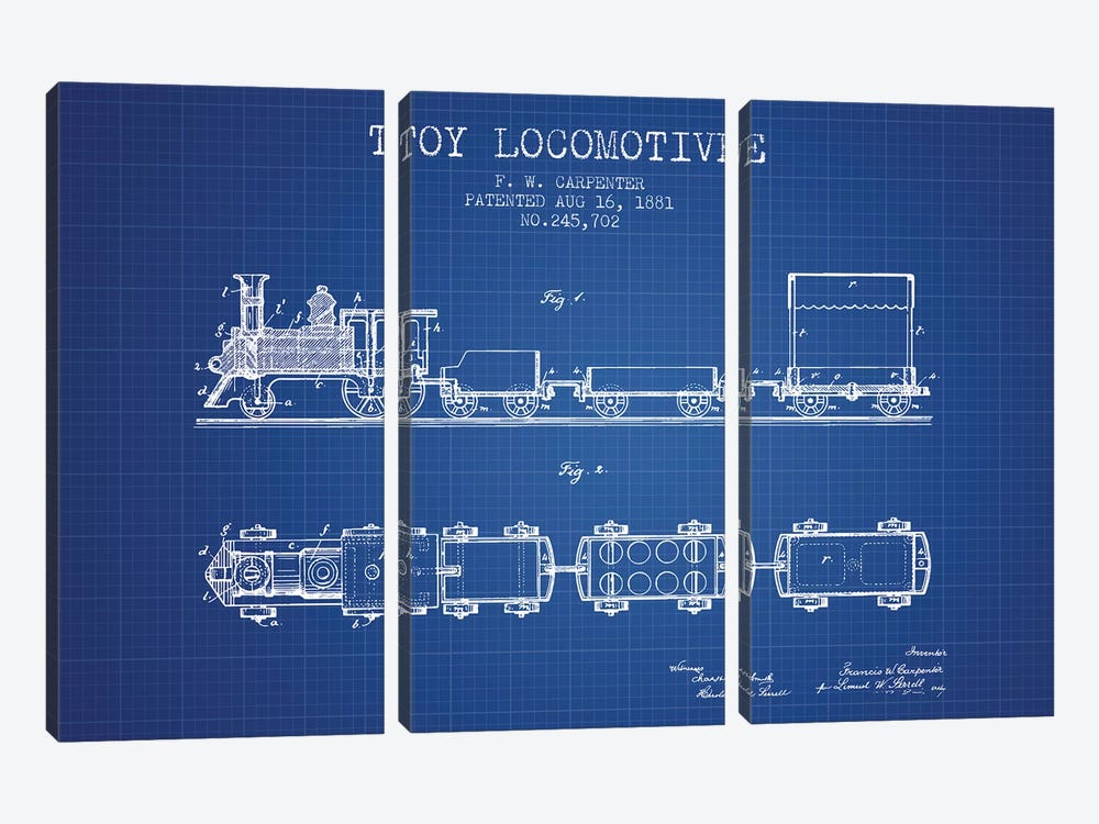 F.W. Carpenter Toy Locomotive Patent Sketch (Blue Grid) by Aged Pixel 3-piece Art Print