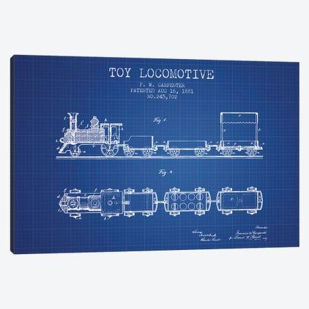F.W. Carpenter Toy Locomotive Patent Sketch (Blue Grid) Canvas Print #ADP2871} by Aged Pixel Art Print
