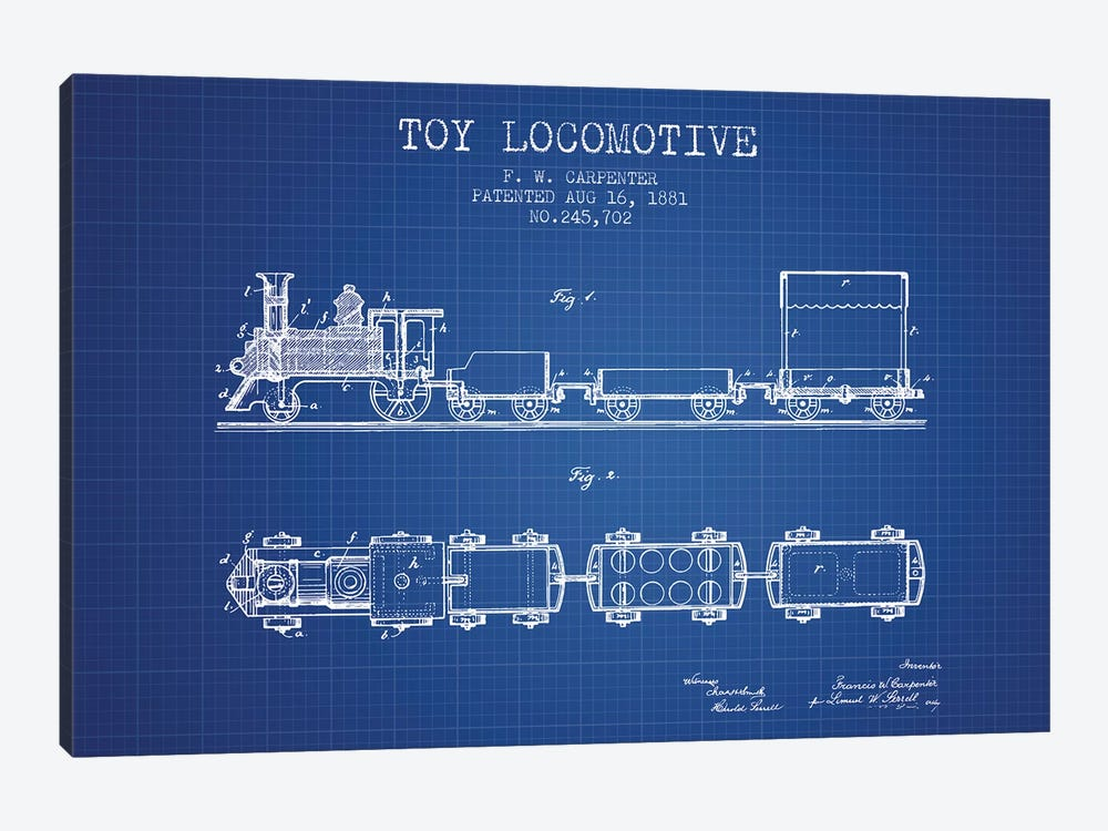 F.W. Carpenter Toy Locomotive Patent Sketch (Blue Grid) by Aged Pixel 1-piece Canvas Print