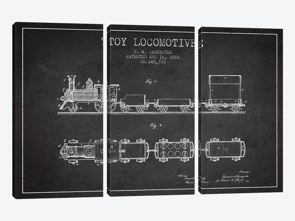 F.W. Carpenter Toy Locomotive Patent Sketch (Charcoal) by Aged Pixel 3-piece Canvas Art