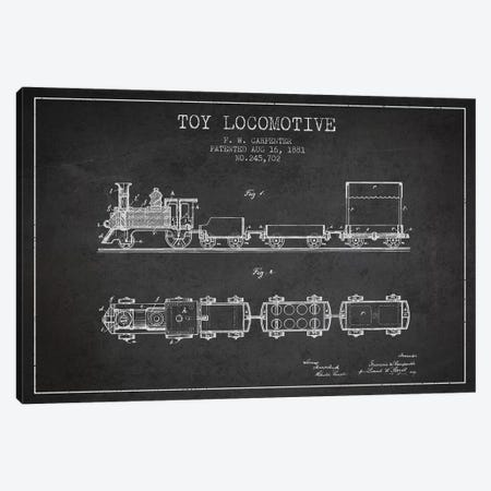 F.W. Carpenter Toy Locomotive Patent Sketch (Charcoal) Canvas Print #ADP2872} by Aged Pixel Canvas Art Print